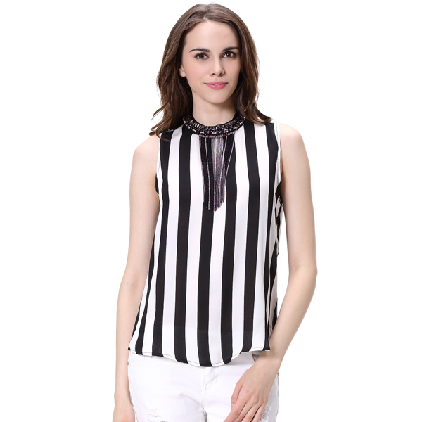 Black and White Stripe Guangzhou Wholesale Lady Fancy Tops