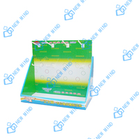 green cardboard pdq paper counter display boxes with hook for promotion