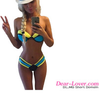Young girl 2016 Hot Trendy Cheap Blue Color Blocking Sexy Mini Micro Bikini Swimsuit