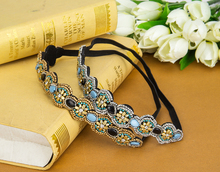 Wholesale Handmade Hair Accessories Flower Crystal Stretch Rhinestone Beaded Headband