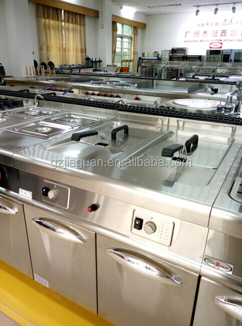 vertical Stainless 2 tank Gas deep Fryer with cabinet GF-985