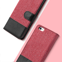 E-Tree Plain Canvas Wallet Leather Flip Case Cover For iPhone 7 , For iPhone 7 Wallet Phone Case