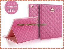 Hot selling Leather Crown Foldable Smart Cover Case for iPad 6