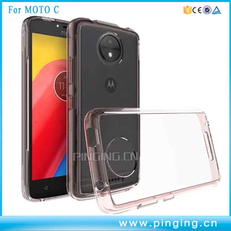 Transparent Shock-Absorption TPU Bumper Clear Acrylic Back Cover for Moto C