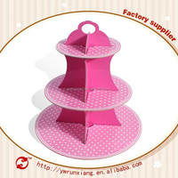 Wholesale birthday party decorations pink polka dot cupcake stand cardboard advertising display stands