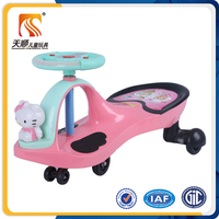 2015 hello kitty plastic material ride on toy style baby swing car baby twist car price for kid with music