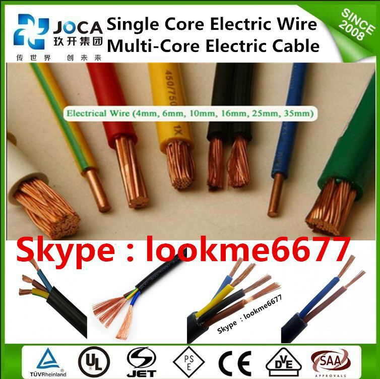 Power wire color code 6mm flexible cable wire single electric