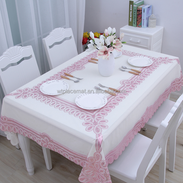 Buy Table Clolths Online, Fitted Table Covers in China, Pink Vinyl Table Cloth For Christmas