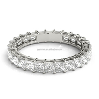 Fashion 14k white gold princess diamond eternity platinum wedding ring