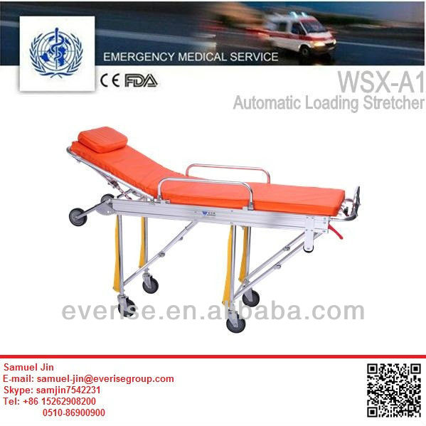 automatic loading stretcher; medical multi-level fixed top stretcher; automatic loading stretcher for first response