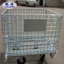 Logistic Portable Collapsible Metal Storage Cage With Steel Pallet Container