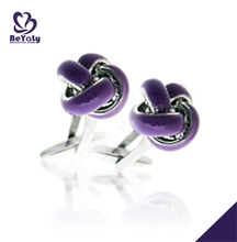 Classic violet flower custom silk knot cufflinks