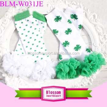 St Patricks Day Leg Warmers Chiffon Four - Leaf Clover Baby Leg Warmer
