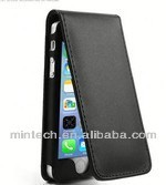 Up and Down side opened flip leather case for iphone 5 5s