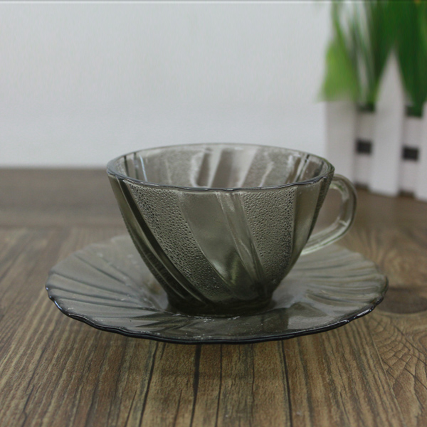 Custom Glass Coffee Cup With Handle and Saucer Antique Coffee Cups and Saucers Gray