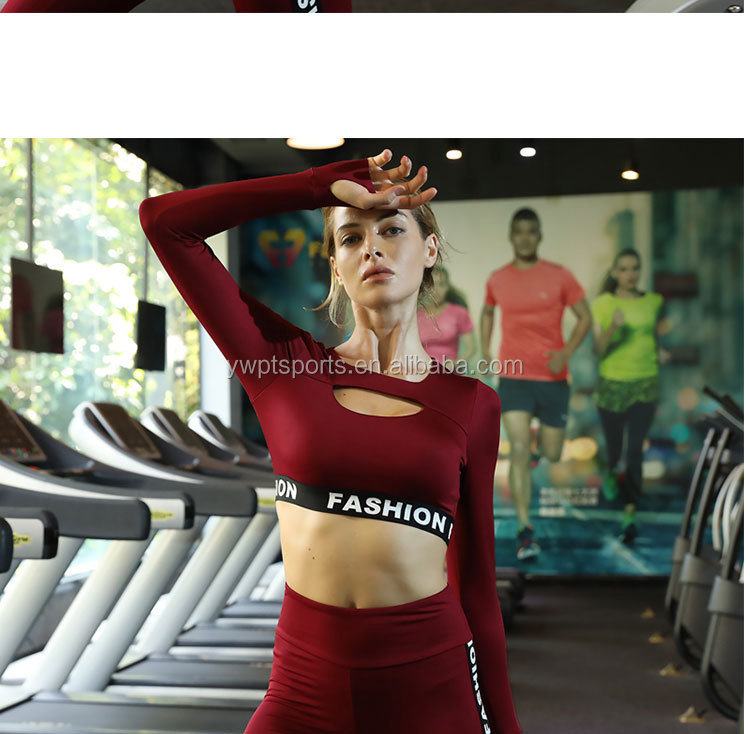 Ptsports wholesale ladies long-sleeved cropped sports top suit,women fit dry sports tights sets yoga fitness wear