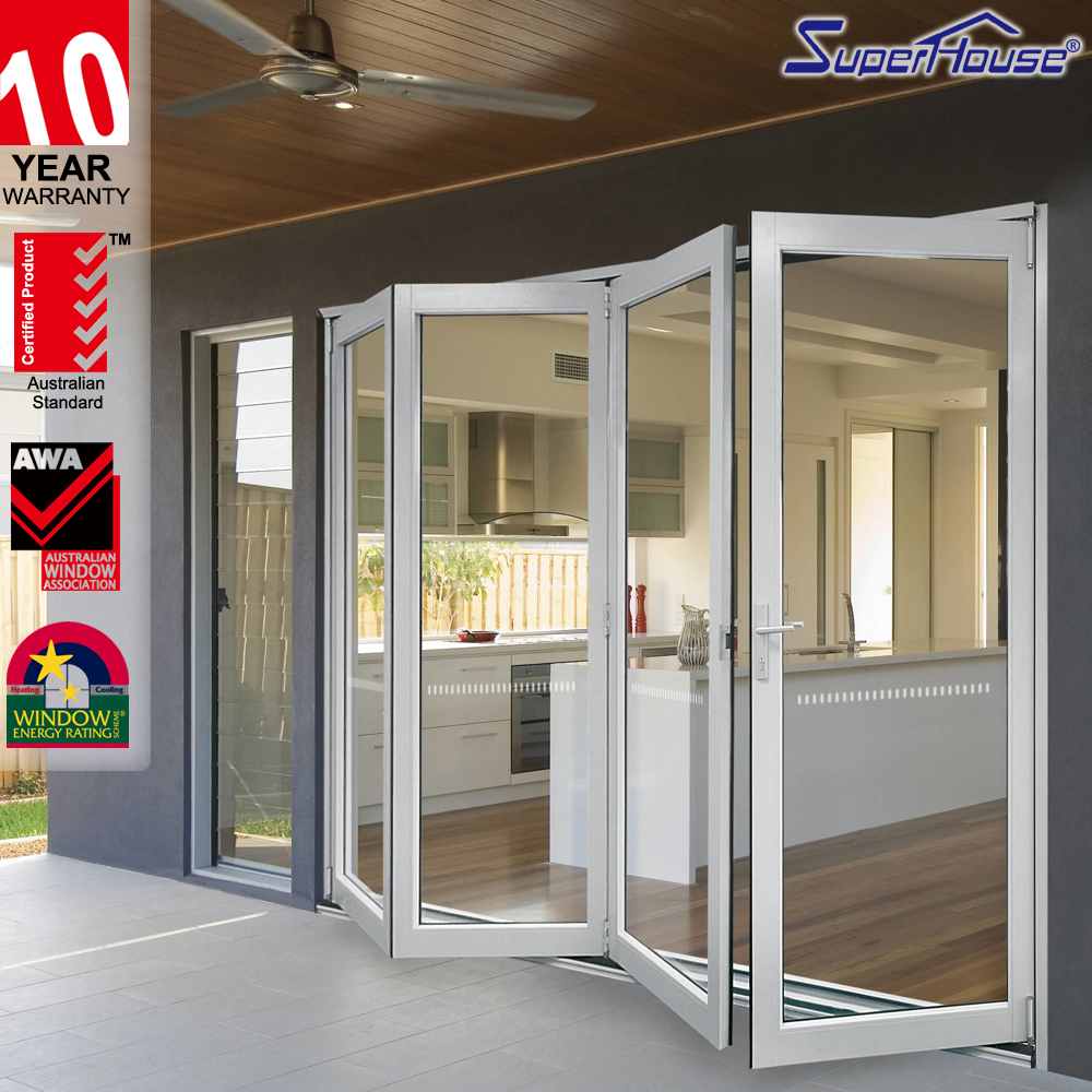 Superhouse aluminium double glazed transparent folding doors with Australia US standard
