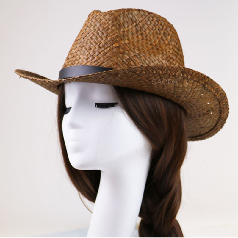 Bow brown hand craft straw panama hat