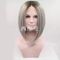Beauty popular style grey ombre wig short bob wigs synthetic lace front wig heat resistant