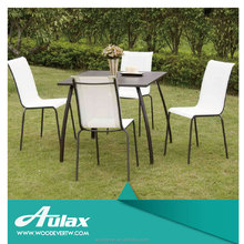 Restaurant dinner round tables and chairs garden furniture outdoor white