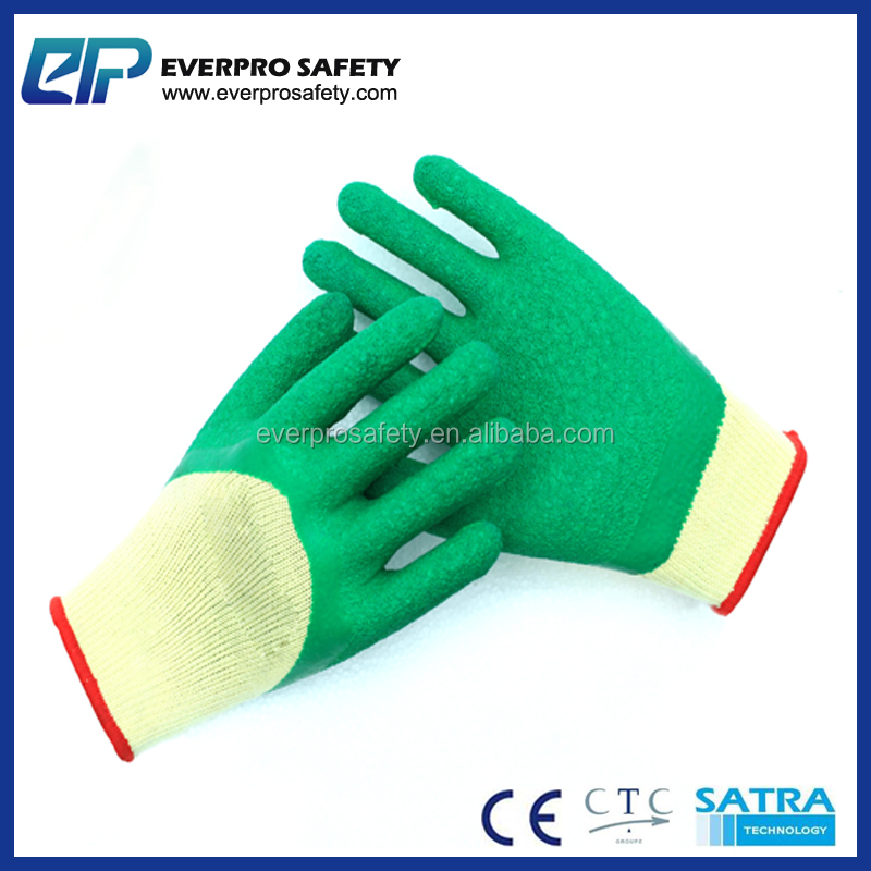 Gripped Latex Coating On Palm Rough Textured Rubber Latex Dipping Gloves