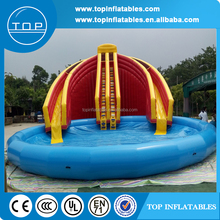 large inflatable double tube slide with pool, inflatable water park slides for sale