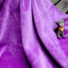 Purple Color Super Soft Minky Fleece Fabric For Baby Products
