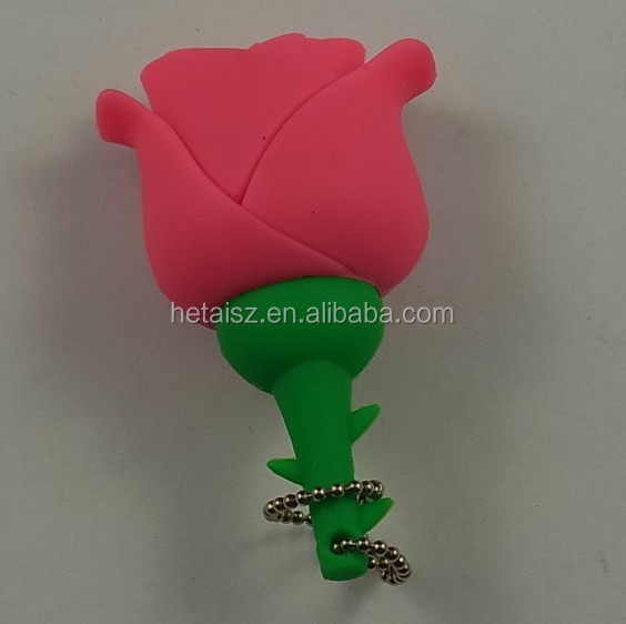 rubber diy rose flower shape usb flash drive