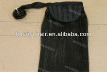 "20"" 90g/set black color ponytail human hair weft/clip-in ponytail human hair extension"