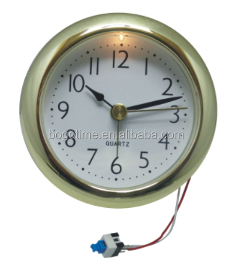 Cheap mini quartz clock inserts small golden metal inserts clocks with light