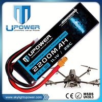 Upower rechargeable 11.1v 25c 2200mah 3s lipo li-po li-poly battery for rc models