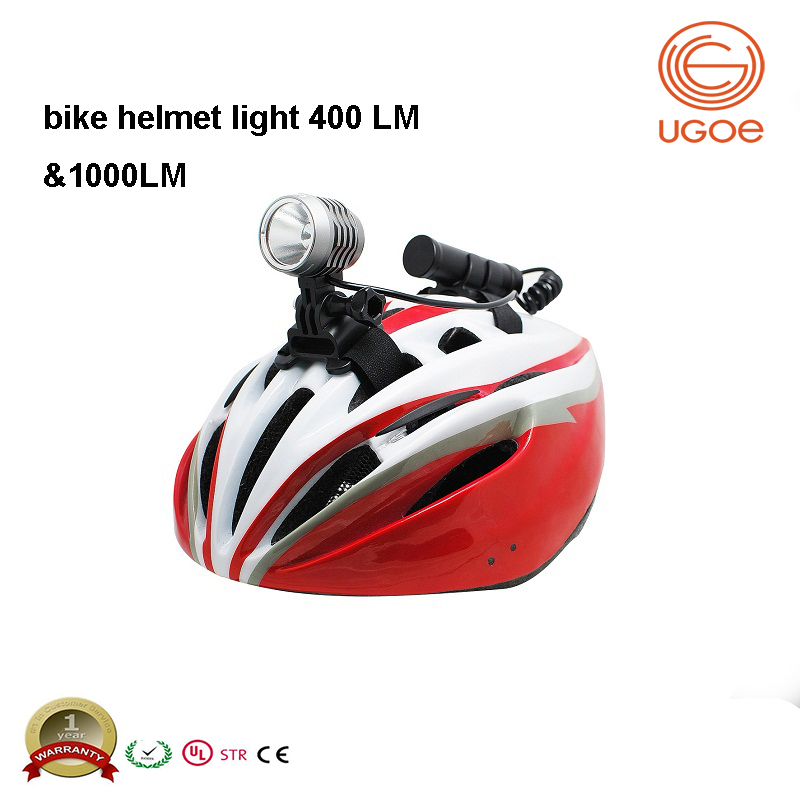 UGOE light weight bike helmet headlight range 100 meters 400 lumens USB led bicycle light