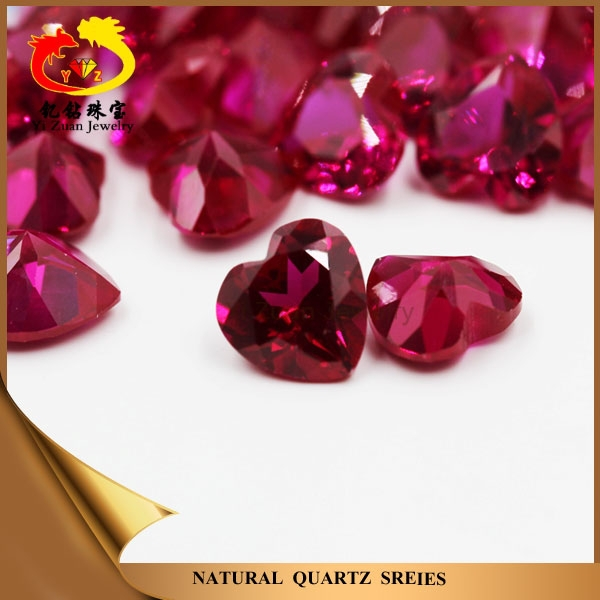 Fancy heart shaped facets cut synthetic corundum ruby rough