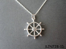 Silver Nautical Steering Wheel Necklace For Best Friends