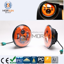 color LED headlight Water proof 7 inch round for dual motorcycle headlamps 3500LM Yellow