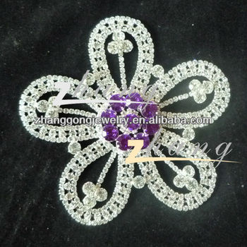 flower Rhinestone lace for dress decoration