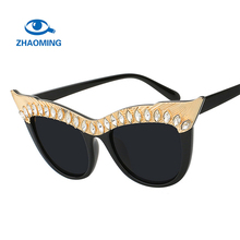 ZHAOMING Crystal Stone Oversized Cat Eye Frame Women Cat Eye Sunglasses Brands Designer Sexy Female Fashion Sunglasses 2018