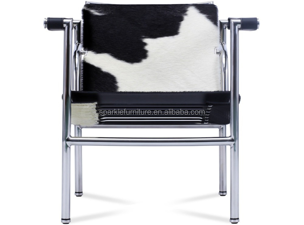 Le Corbusier LC1 Basculant sling <strong>chair</strong> / modern Leisure Cowhide Leather <strong>Chair</strong> / pony leather stainless frame arm <strong>chair</strong>