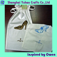 Custom cotton fabric shoe bags with embroidery logo and drawstring
