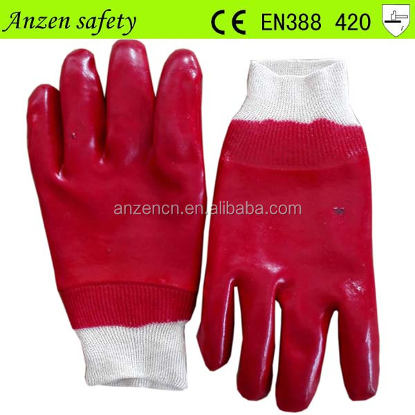 cotton cuff water proof industrial pvc hand glove