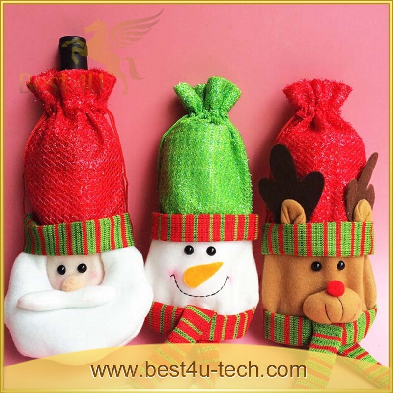 Christmas Decorative Fabric Wine Bottles Covers, Wine Bottle Holiday Covers
