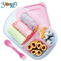 Plastic 3-Compartment Bento Boxes Food Grade Stackable Pet Food Containers