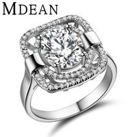 MDEAN Square White Gold Plated Party Rings For Women AAA CZ Diamond jewelry women rings Accessories free ship Bijouterie MSR294