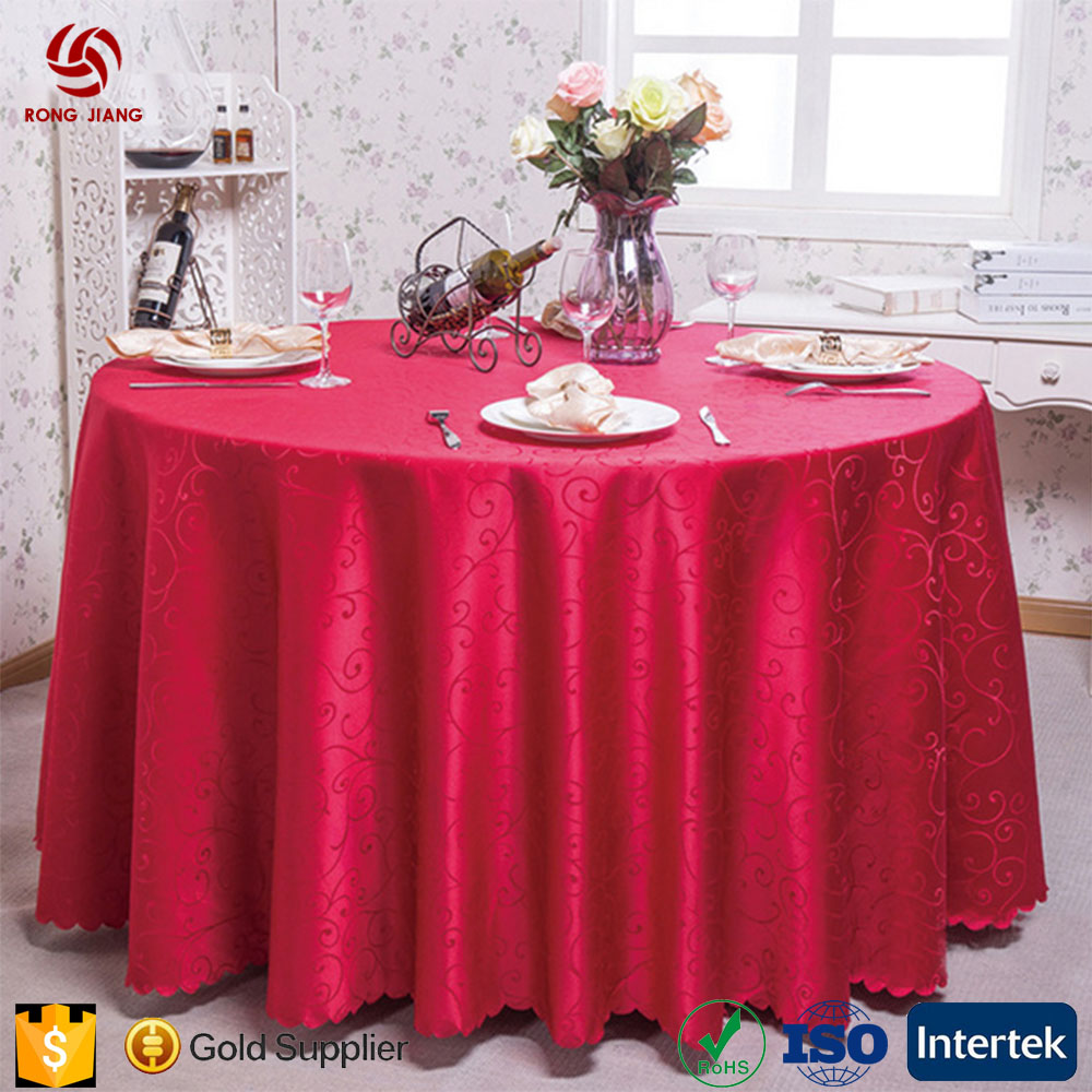 Wholesale 100% Polyester Washable Table Cloth Embroidered Round Table Cover
