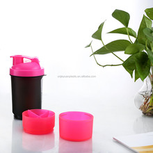Protein Shaker Plastic Water Bottle with Straw Lid