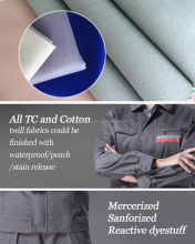 Poly Cotton Fabric CVC Fabric Lining and Workwear Fabric Plain Dyed Twill and Plain Types