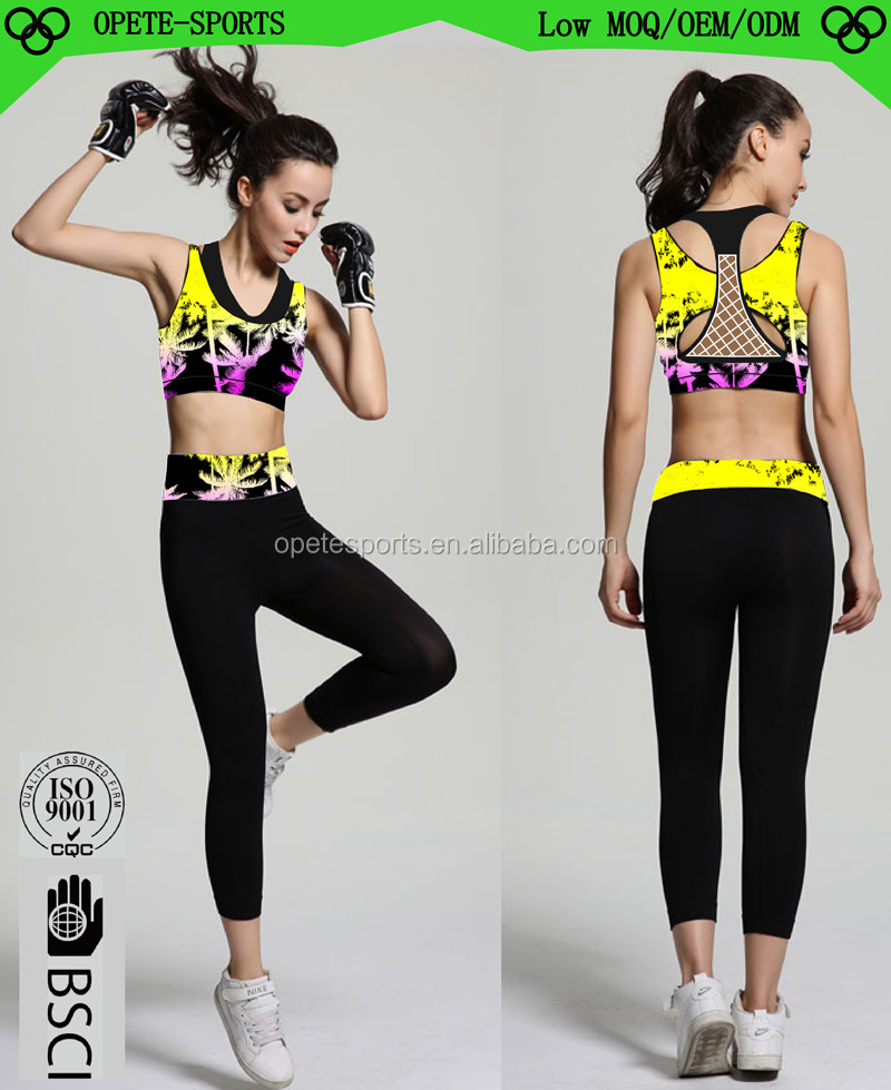 (Trade Assurance)Hot Fitness Girls Wearing Sexy Sport Shirt And Pants Yoga Wear Sets
