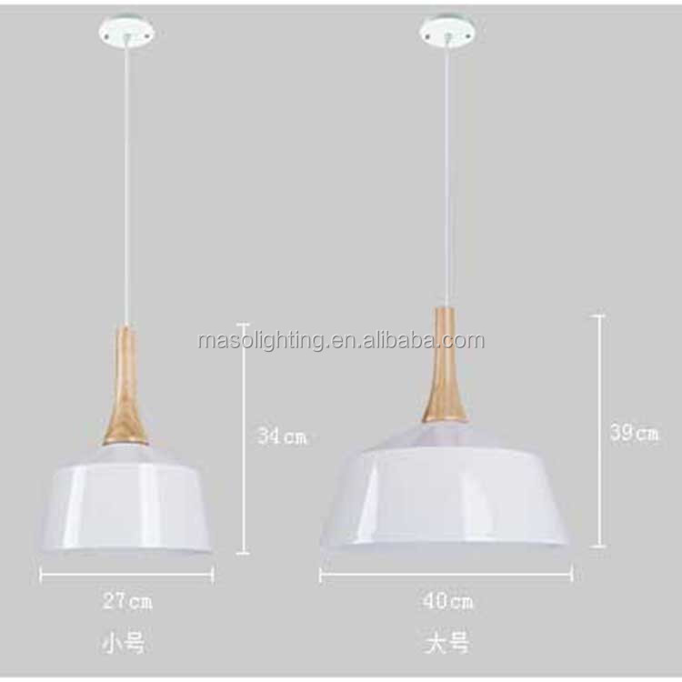 Dome shape White Iron Suspended Lamp Cafe Dinning room Wooden Nordic Pendant Lamp Personal Novelty design simple light fixture