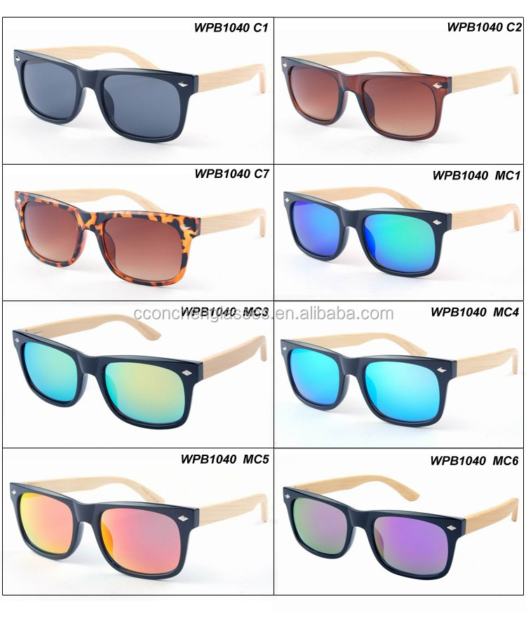 2017 most popular balck party stylish wholesale bamboo mirror lens 100%uv sunglasses