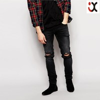 2015 stretch denim dark wash ripped knees black skinny fit men torn jeans, branded mens jeans, men fancy jeans JXQ1201